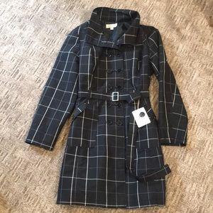 Merona B&W Plaid Trench Coat Sz XXL